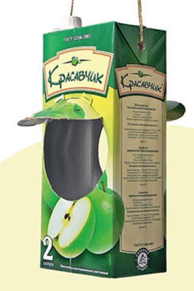 Кормушка для птиц своими руками из пакета от сока